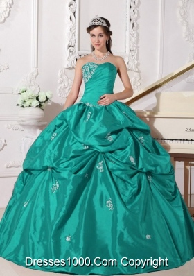 Turquoise Sweetheart Quinceanera Dresses with Appliques and Pick-ups