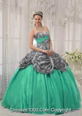 Turquoise Sweetheart Zebra Quinceanera Dresses with Ruffles and Pick-ups