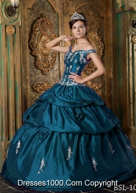Vintage Off The Shoulder Floor-length Appliques Puffy Quinceanera Gowns