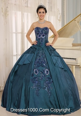 2014 Sweetheart Embroidery Long Quinceanera Gown in Teal