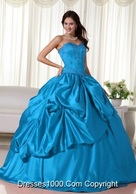 Aqua Blue Ball Gown Sweetheart Floor-length Floor-length Embroidery Quinceanera Dress