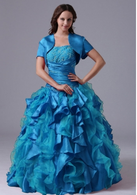 Ball Gown Aqua Blue Ruffles Beaded Decorate Bust Quinceanera Dress With  Ruch In Maine