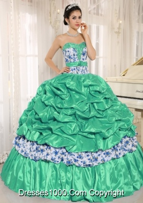 Beaded and Pick-ups For Turquoise Quinceanera Dress Taffeta and Printing