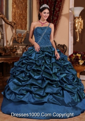 Blue Ball Gown One Shoulder Floor-length Taffeta Pick-ups Quinceanera Dress
