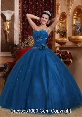 Blue Ball Gown Sweetheart Floor-length Tulle Beading Quinceanera Dress
