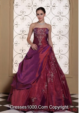 Burgundy 2014 Quinceanera Gowns Dresses with Embroidery