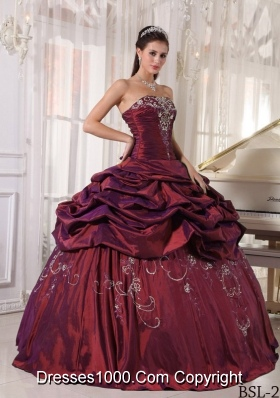 Burgundy Quinceanera Dresses with Taffeta Embroidery and Pick-ups