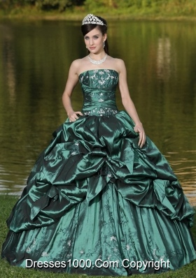 Custom Size Strapless Turquoise Quinceanera Gown Dresses with Beading and Pick-ups