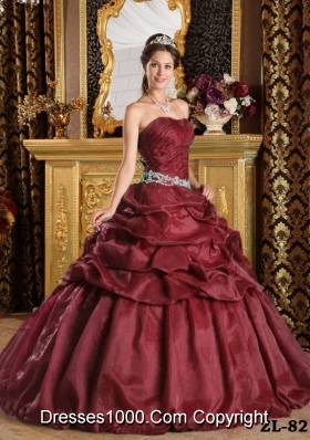 Embroidery and Pick-ups Sweep Train Quinceanera Dress  Custom Made