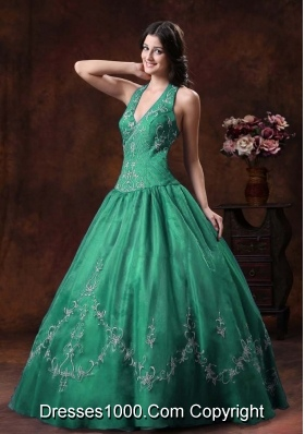 Halter Turquoise Quinceanera Gowns with Embroidery Organza
