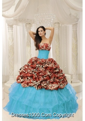 Luxurious Organza and Leopard Beading Quinceanera Gown With Brush Train