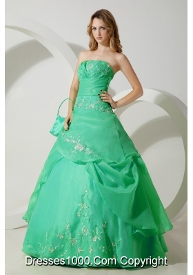 Princess Strapless Quinceanera Dresses with Embroidery and Pick-ups