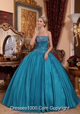 Puffy Strapless Taffeta and Tulle Appliques 2014 Quinceanera Dresses in Teal