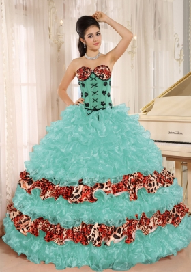 Ruffles and Appliques for Sweetheart Leopard Quinceanera Gowns Dresses