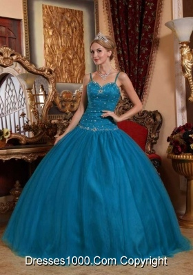 Spaghetti Straps Floor-length Tulle Beading Puffy Quinceanera Dresses