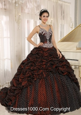 Special Fabric Pick-ups Spagetti Straps Quinceanera Dresses with Appliques Decorate