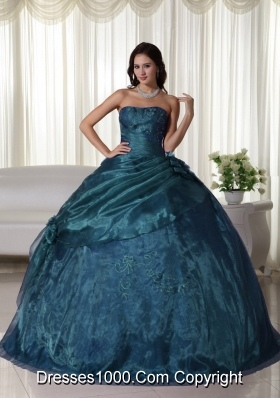 Strapless Tulle Beading Turquoise Quinceanera Gown Dresses