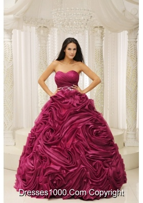 Sweetheart A-line 2014 Quinceanera Dress with Beading and Hand Made Flower