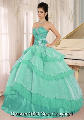 Sweetheart Beaded Decorate Turquoise Quinceneara Dresses with Layeres