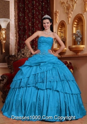 Teal Ball Gown Sweetheart Floor-length Taffeta Beading and Appliques Quinceanera Dress