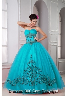 Teal Ball Gown Sweetheart Floor-length Tulle Beading Quinceanera Dresss