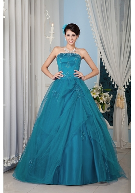 Teal  Princess Strapless Floor-length Tulle Beading Quinceanera Dress