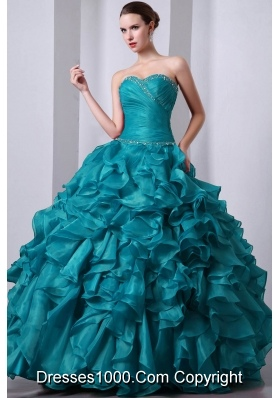 Teal Princess Sweetheart Floor-length Organza Beading and Rufffles Quinceanea Dress