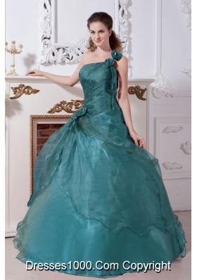 Turquoise A-line  One Shoulder Quinceanera Gown Dresses with Beading