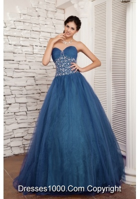 Turquoise A-line Sweetheart Floor-length Tulle Beading Prom / Evening Dress