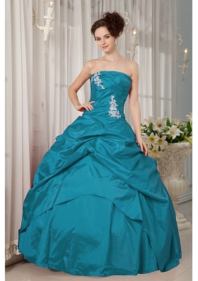 Turquoise Ball Gown Strapless Floor-length Taffeta Appliques Quinceanera Dress