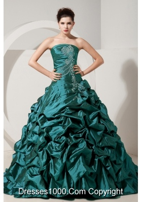 Turquoise Princess Strapless Brush Tain Taffeta Quinceanera Gowns with Beading