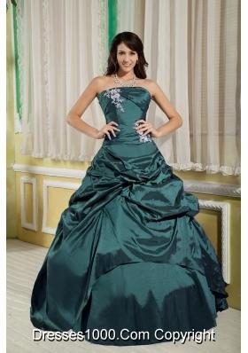 Turquoise Princess Strapless Taffeta Appliques Quinceanera Dresses