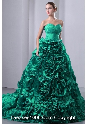 Turquoise Princess Sweetheart Brush Train Hand Made Flowers Quincenera Dresses