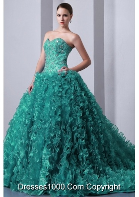 Turquoise Princess Sweetheart Brush Train Quinceanea Dresses with Beading and Ruffles