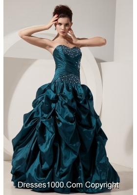 Turquoise Princess Sweetheart Taffeta Quinceneara Dresses with Beading and Pick-ups