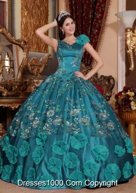 Turquoise Quinceanera Dresses V-neck Beading and Appliques