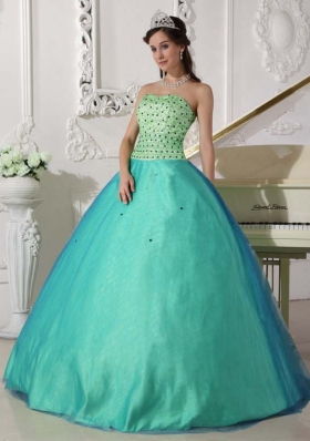 Turquoise Quinceanera Gown Dress with Beading Sweetheart