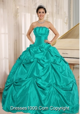 Turquoise Quinceanera Gowns Dress with Pick-ups For Custom Made Taffeta