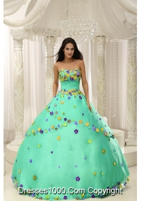 Turquoise Quninceaera Gowns For Custom Made Appliques Decorate Bodice