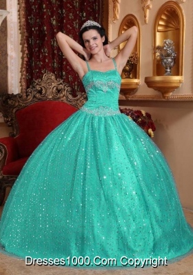 Turquoise Spaghetti Straps Sequined Beading Quinceanera Dresses