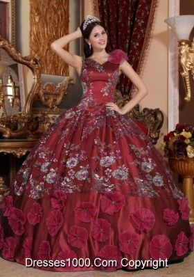 Ball Gown V-neck Beading and Appliques for Burgundy Sweet 16 Dresses