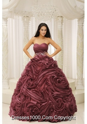 Burgundy A-line Sweetheart 2014 Quinceanera Dress with Beading