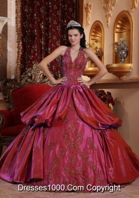 Burgundy Halter Quinceanera Dresses with Appliques and Pick-ups