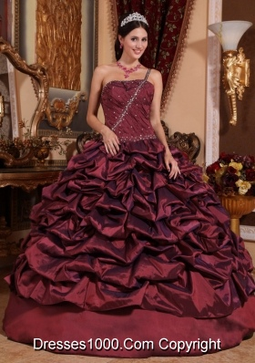 Burgundy One Shoulder Sweet 15 Dresses with Pick-ups and Beading
