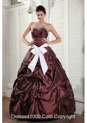 Burgundy Princess Sweetheart Beaded Quinceanea Dress with White Sash