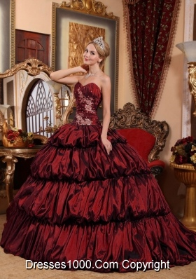 Burgundy Sweetheart Chapel Train Quinceanera Dresses with Appliques and Pick-ups