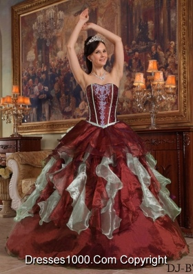 Burgundy Sweetheart Organza Quinceneara Dresses with Beading