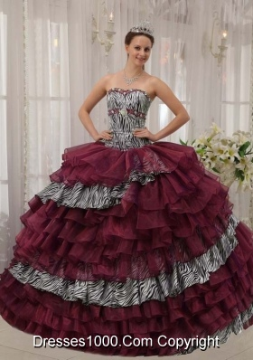 Burgundy Sweetheart Quinceanera Gown Dresses with Beading and Layers