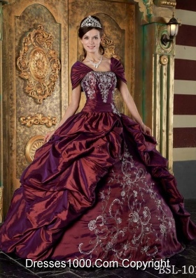 Burgundy Taffeta Strapless Quinceanera Gown Dress with Embroidery