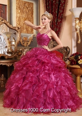 New Style One Shoulder Organza Quinceanera Dresses with Beading and Ruffles